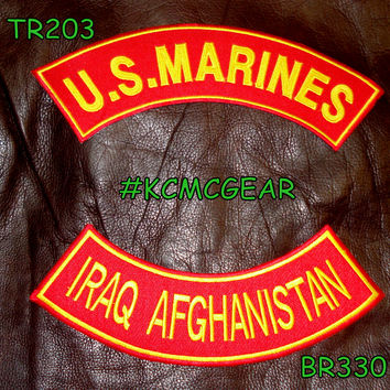 U.S. Marines Iraq Afghanistan Embroidered Military Patch Set Sew on Patches for Jackets