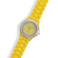 Yellow Rubber Fashion Watch with Round Face