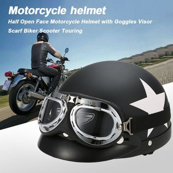 KKMOON Half Helmet Open Face For Bike Casque with Goggles Visor For Scooter Cycling Touring vintage Motorcycle Helmet Black Red