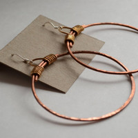 Hand hammered and formed simple minimalistic solid antiqued copper and brass hoop earrings / rustic natural jewelry / stretched ear jewelry