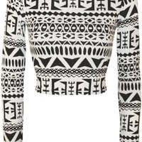 WearAll Women's Print Long Sleeve Crop Top - Black White - US 4-6 (UK 8-10)