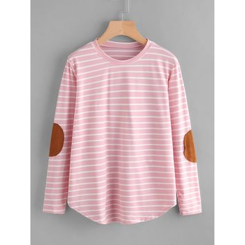 Elbow Patch Striped T-shirt Multicolor