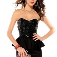 Wow Shop Women's Strapless Sequin Peplum Party Mini Dress