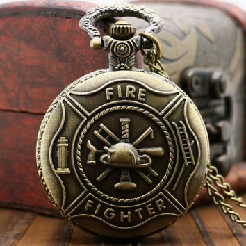 Free Firefighter Bronze Quartz Pocket Watch