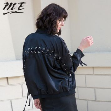 ME Basic Bomber Jacket Coat Women Satin Lace Up Pockets Biker Jacket Outerwear Autumn Winter Casual Loose Large Streetwear