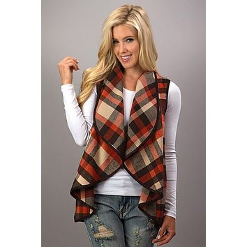 Plaid Fall Vest - Brown and Rust