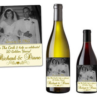 50th Anniversary Wine Labels - 50th Wedding Champagne Labels - Personalized Photo Wine Labels - Golden Anniversary Party Favors  - Couple