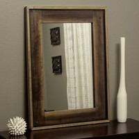 Modern Rustic Wood Mirror Distressed Decorative w Dowel Accents