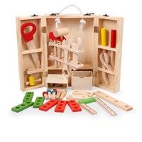 Baby Wooden Toy Multifunctional carpenter tool box set kids Maintenance Wooden Tool Nut Combination Toys LF116