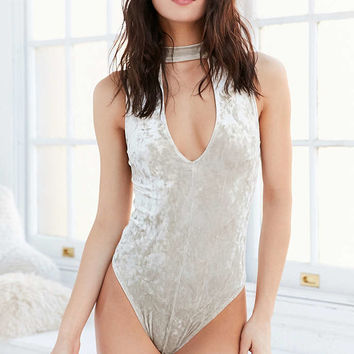 Out From Under Velvet Plunge Bodysuit - Urban Outfitters