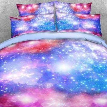 3D Dreamy Galaxy Printed Cotton Luxury 4-Piece Bedding Sets/Duvet Covers