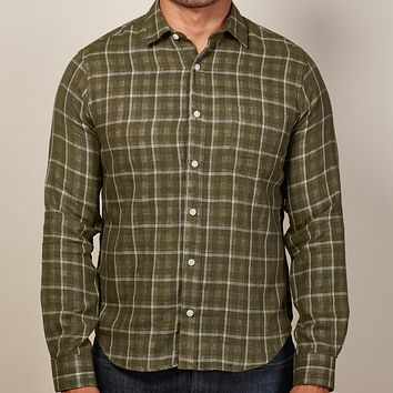 Olive Windowpane & Gingham Double-Cloth Shirt - Billy