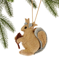 Squirrel Felt Holiday Ornament