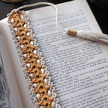 Crochet bookmark with ribbon and tassel, gold and ecru, lace bookmark