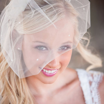 Birdcage Veil, Tear Drop Blusher Wedding, Bridal Veil, Blusher Veil