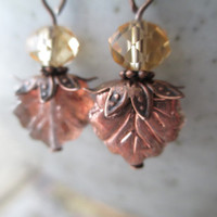 Bronze Earrings  Czech Glass Earrings Crystal Earrings  Dangle Earrings, Leaf Earrings, Small Earrings Drop Earrings
