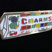Enamel 70s Pop Art CHARMS Candy Vintage Food Jewelry Cloisonné Brooch  Mid Century Metal Emamel Jewelry Warhol Indiana Style Art Jewelry