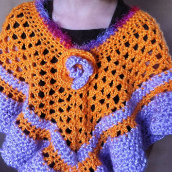 CLEARANCE 50% off was 35USD crochet girl poncho handmade one of a kind orange purple toddler to 7 years one size children accessorie
