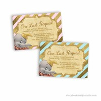 Dumbo Baby Shower Book Request Insert Cards