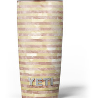 Pink Watercolor Grunge with Gold Stripes Yeti Rambler Skin Kit
