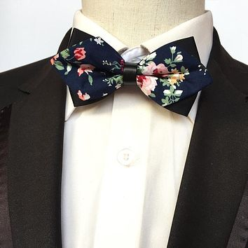 Novelty Floral Printed Bow Tie For Mens Marriage Bowtie Wedding Suits Sharp Skinny Collar Sharp Cravat Ties