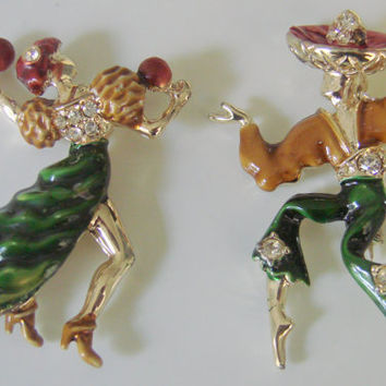 Set 40s Vintage Enamel Rhinestone Spanish Dancing Couple Brooches / Figural / Jewelry / Jewellery
