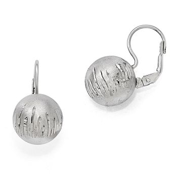 14mm Brushed & Diamond-Cut Ball Lever Back Earrings in Sterling Silver