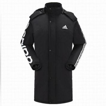 """""""Adidas"""" Women Men Casual Fashion Print Cardigan Long Sleeve Thickened Cotton-padded Clothes Middle Long Section Coat Hoodie Windbreaker Black"""