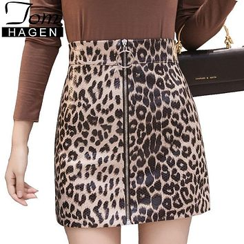 Women PU Faux Leather Skirt Winter Women Elegant Zipper Mini Pencil Leopard Print Skirt Lady Summer Skinny High Waist Skirts