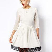 ASOS Skater Dress With Contrast Lace Hem