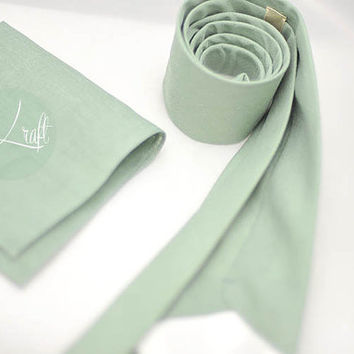 set of 12 dusty shale green neckties(buy 10 get 2) ,convo customer,linen fabric wedding neck tie,groom,groomsmen,men,wedding set,solid color