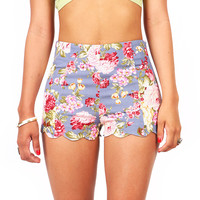Garden Scallop Shorts - High Waist Shorts at Pinkice.com