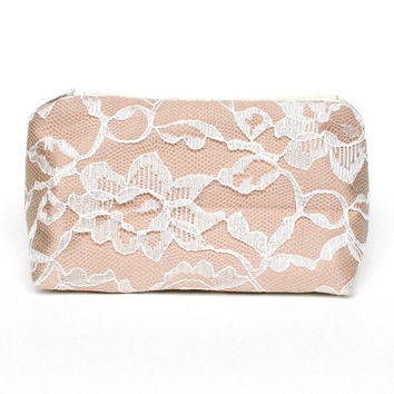 Vintage Lace Beige Cream & Ivory Cosmetic Bag Bridesmaid Gift - Wedding Favor, Bridal Accessory, Vintage Wedding, Lace Accessory