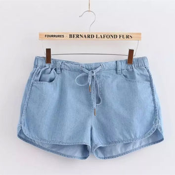 Basic Elastic Waist Flat Front Drawstring Mid Waist Cutoff Denim Shorts with Dolphin Hem