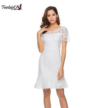 Fantaist Women Wedding Party Sexy V backless O-neck Hollow Out Lace Solid Elegant Club Office Work Wear Trumpet White Dress