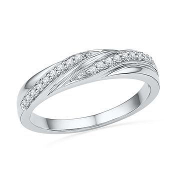 10kt White Gold Womens Round Natural Diamond Simple Fashion Band Ring 1/10 Cttw