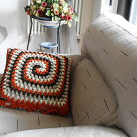 crochet pillow cover, merino wool crocheted cushion, pillow case made to order