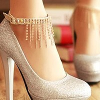 Elegant Rhinestone Tassels High-heeled Shoes from styleonline