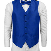 LE3NO Mens Patterned Formal Button Down Vest with Bow Tie / Handkerchief (CLEARANCE)