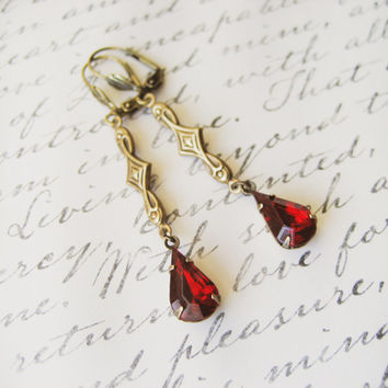 Vintage Red Rhinestone Earrings // Valentines, Bridal Jewelry, Bridesmaids, Estate Style, Drop Earrings, Wedding Accessories, Jewellery