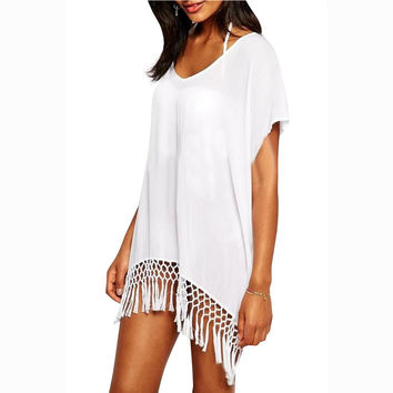2017 New Summer Swim suit cover up Beach Sexy V Neck Loose Cover-up Tassels Pareo Beachwear Tunic White Sarong Swimwear Dress