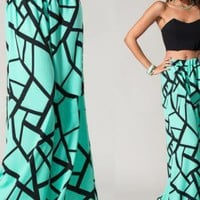 Chic Printed Teal Wide Leg Palazzo Pants