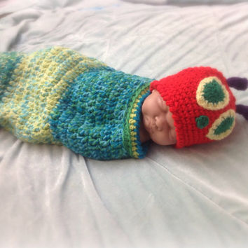 The very Hungry Caterpillar baby hat and cocoon, newborn photo prop, baby shower gift.