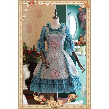 Sweet Jacquard Flower JSK Lolita Dress Windsor's Afternoon Tea Series Sleeveless Dress by Infanta
