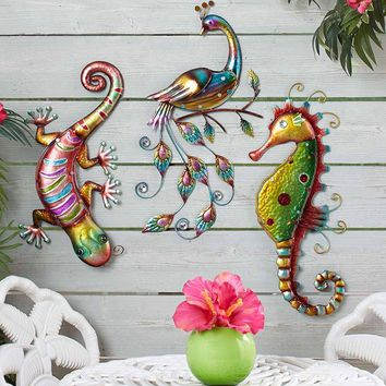 Colorful Metallic Wall Sculpture Peacock Gecko or Seahorse Oversized Vibrant