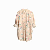 Vintage 90s Floral Shirt Dress in Pastel Peach & Cream / Floral Print Boyfriend Shirt - women's large