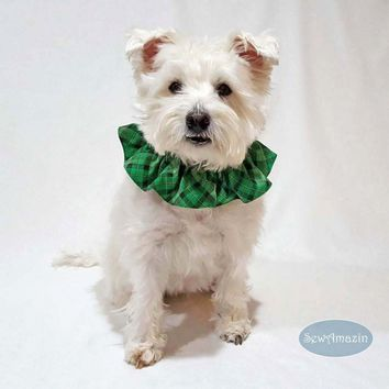 Lucky Irish Plaid Green St Patricks Day Dog Scrunchie Neck Ruffle