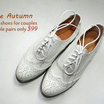 White Green Women's/Men's leather shoes, Handcrafted vintage brogue wingtips,retro leather shoes, 30 colors choices ,XL or XS shoes