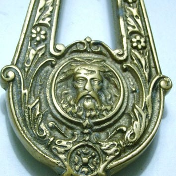 "1870 Antique Brass Door Knocker ""Victorian style green man"""