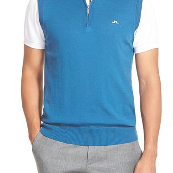Men's J. Lindeberg 'Edi' Quarter Zip Merino Wool Sweater Vest,